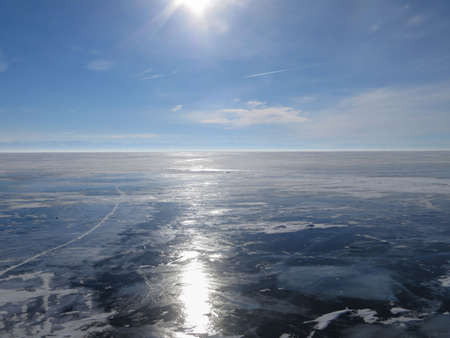 Colorful ice in winter on Lake Baikal in February 写真素材
