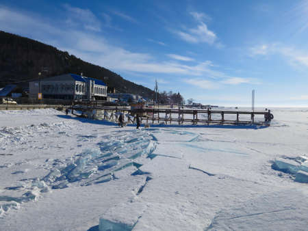 Lake Baikal in winter on a clear sunny day
