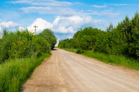 Rural road in Russia in summer