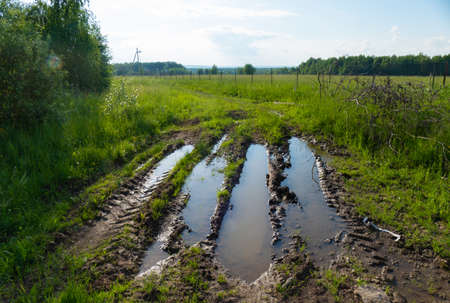 road after rain in rural Russia