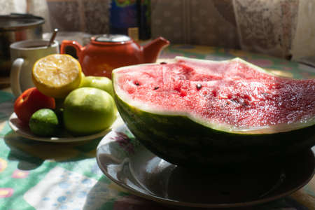 morning breakfast with watermelon on the table