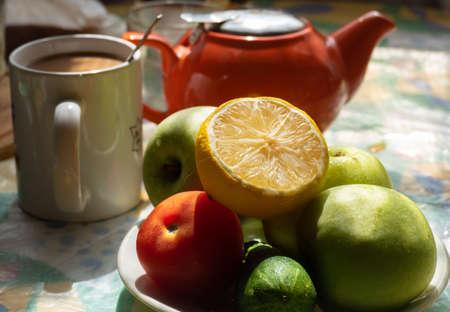 morning breakfast with lemon fruit