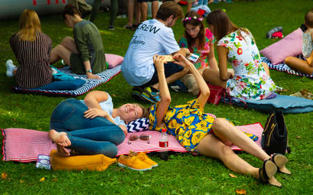 Picnic in summer in the park