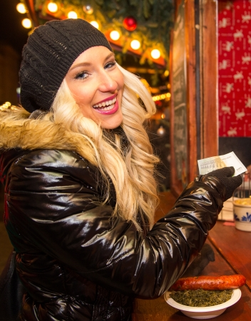 Young blonde woman on the Christmas Market photo