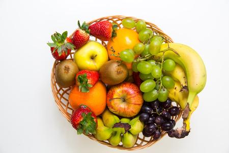 yelllow: Isolated Fruit Basket Stock Photo