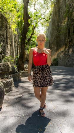 envoronment: Girl walking through a natural envoronment