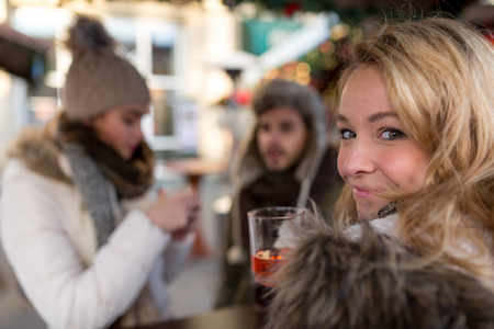 new year s day: Blonde on the Market Stock Photo