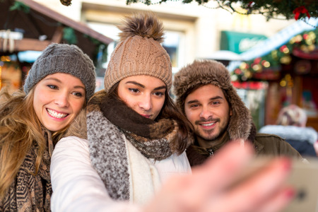 hogmanay: Couple and Friends take a selfie Picture