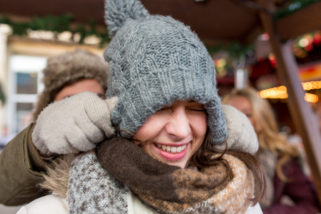christmas market: fun at the christmas market Stock Photo