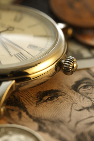 us dollars: Time is money.  Clock in US dollars