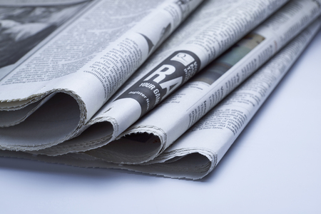 printout: Close up of Newspapers , blue tone