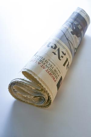 broadsheet newspaper: newspaper isolated on white background, blue tone. Stock Photo