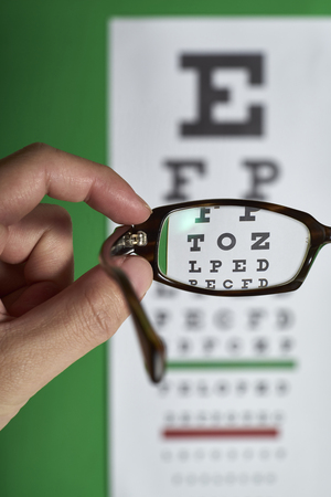 Looking through eyeglasses at an eye exam chart.