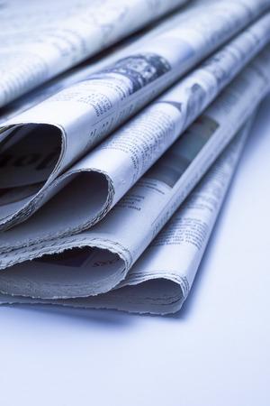 broadsheet newspaper: Close up of Newspapers, blue tone Stock Photo