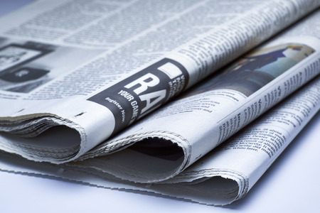 printout: Close up of Newspapers, blue tone Stock Photo