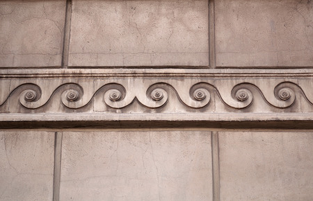 cornice: Fragment of building with a cornice as Greek ornament  wave