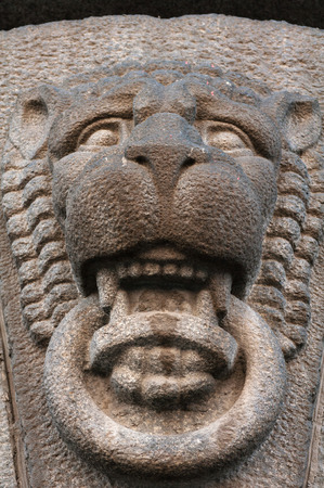 lionhead: Decorative feature ancient building in the form of Lionhead made ​​of granite