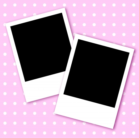 Valentine pink abstract with white dots and two photo frames photo