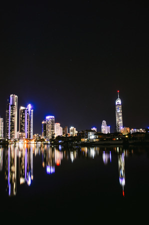 qld: Surfers Paradise Nightscape Reflection Stock Photo