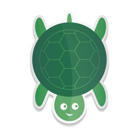 sticker cartoon illustration of a cute smiling happy turtle character, isolated on white background.