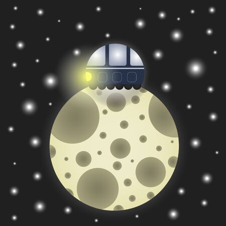 illustration of a space landscape. Lunar moon on a background of outer space.