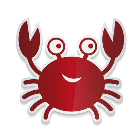 sticker cartoon illustration of a cute smiling happy crab character, lifting up claws, isolated on white background.