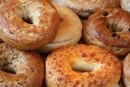 A variety of  healthy freshly baked bagels.  Stock Photo