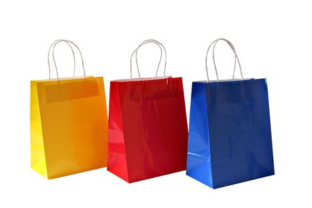 gift bags: Gift bags in primary colors.