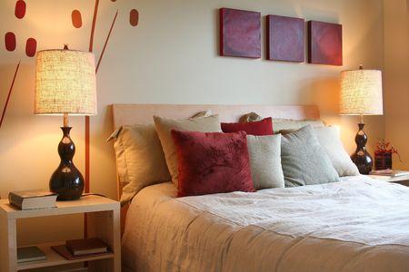 throw cushion: Beautiful bedroom Stock Photo