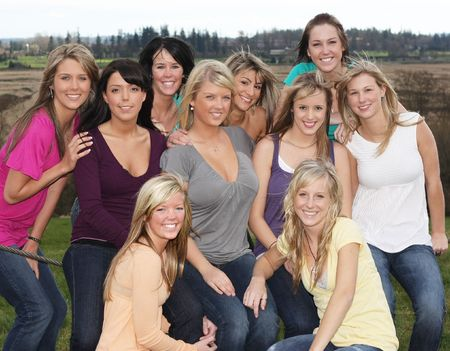 Ten beautiful girls, best friends.  Stock Photo