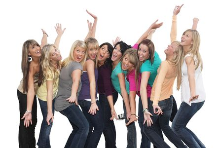 goofy: Ten beautiful young women having fun together.  Stock Photo