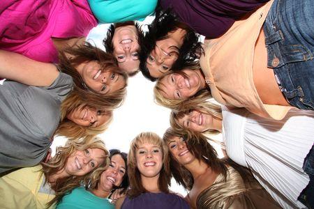 best friends: Ten beautiful girls together, best friends.  Stock Photo