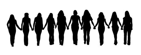 gorgeous woman: Silhouette of ten young women, walking hand in hand.  Stock Photo