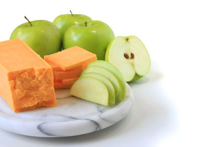 snack: Cheese and apple snack.  Stock Photo