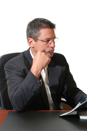 dayplanner: Business man concentrating on his work.  Stock Photo