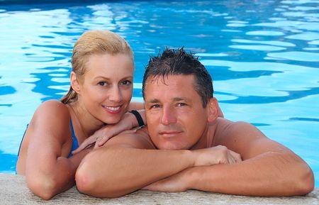 wet men: Happy couple on vacation