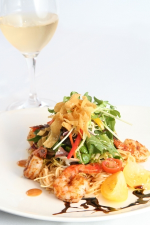 Beautiful thai salad with prawns and noodles.