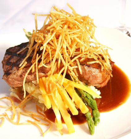 entree: Beautifully decorated beef tenderloin entree.