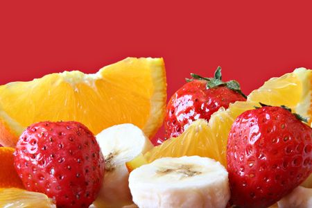 Strawberry, orange and banana.  photo