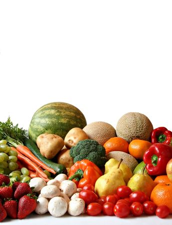 Large variety of fresh fruit and vegetables, water drops visible at 100% photo