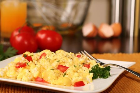 scrambled: Fluffy scrambled eggs.  Stock Photo