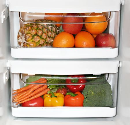 drawers: Fresh fruit and vegetables in the fridge.