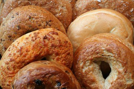 multi grain sandwich: Variety of freshly baked bagels.
