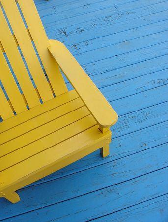 painted wood:  Yellow adirondack chair