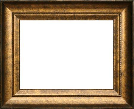 vintage foto: Antieke houten goudkleurige frame, ingewikkelde details. Stockfoto