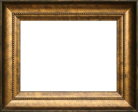 wall decor: Antique wooden gold colored frame, intricate detail.
