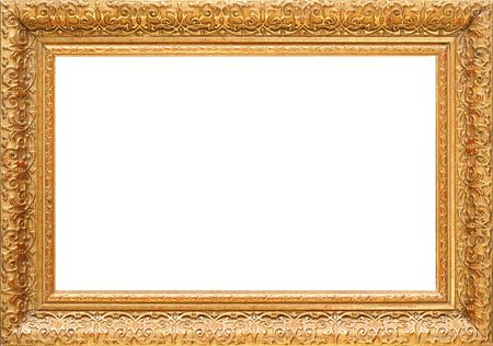 Antique wooden gold frame, intricately carved Stock Photo