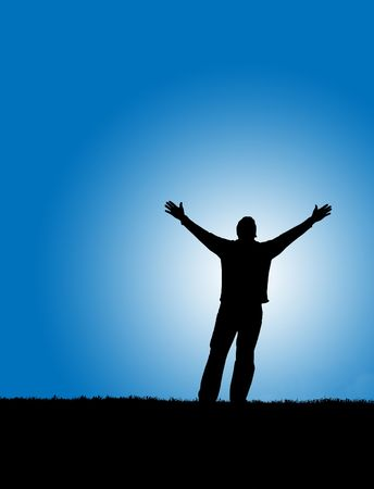 praise: Silhouette of a man with arms lifted up to the sky Stock Photo