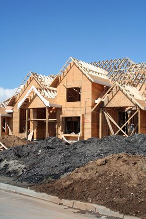 roof framing: New home under construction