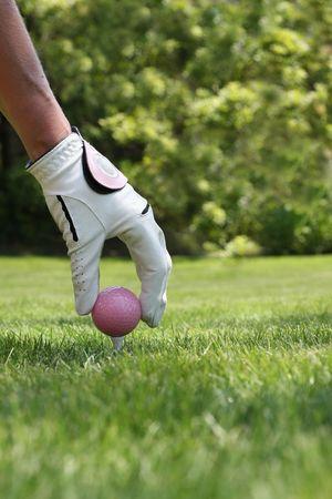 Meine Damen Hand, die ein rosa Golfball auf einem Abschlag.